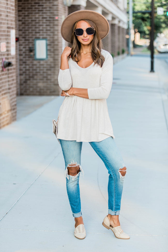 Love Above All Oatmeal Peplum Blouse