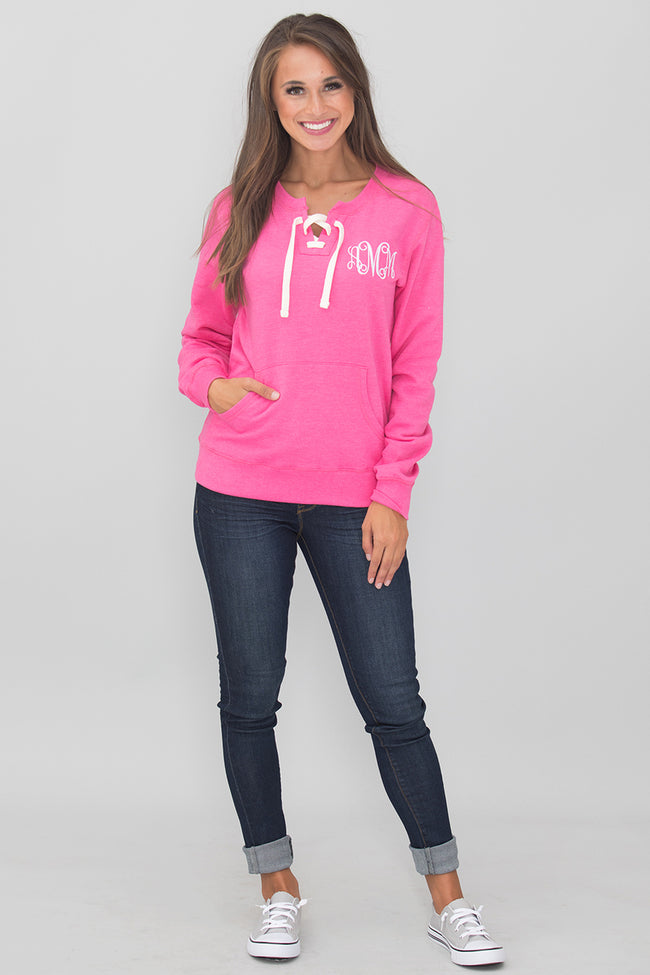 Monogrammed Pink Lace Up Sweatshirt