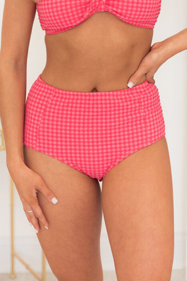 Just A Little Crush Coral Gingham Swimsuit Bottom CLEARANCE
