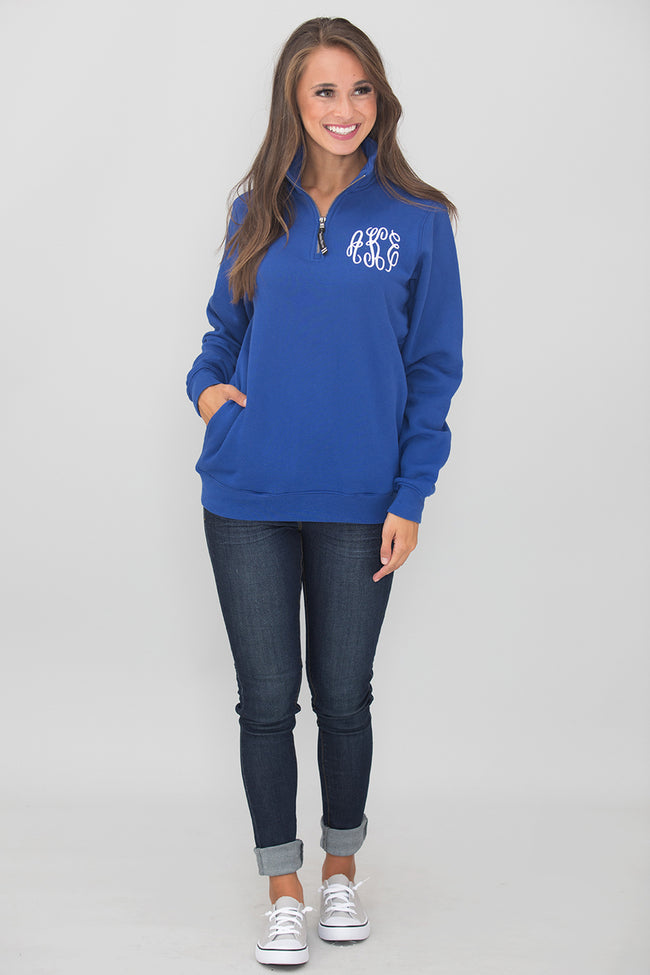 Monogrammed Royal Blue Crosswind Quarter Zip Sweatshirt