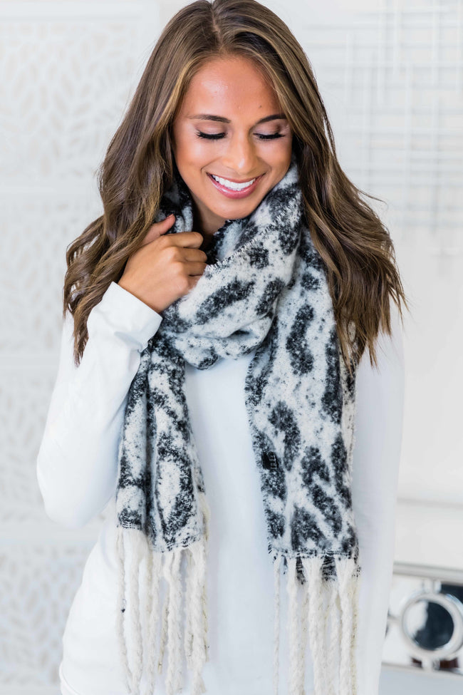 Wishing For Snow Black Animal Print Scarf