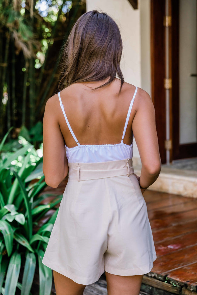 You Belong In My Heart Taupe Romper