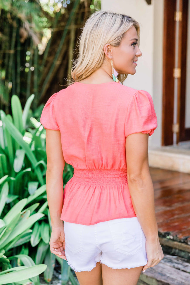So Easily Adored Coral Blouse CLEARANCE