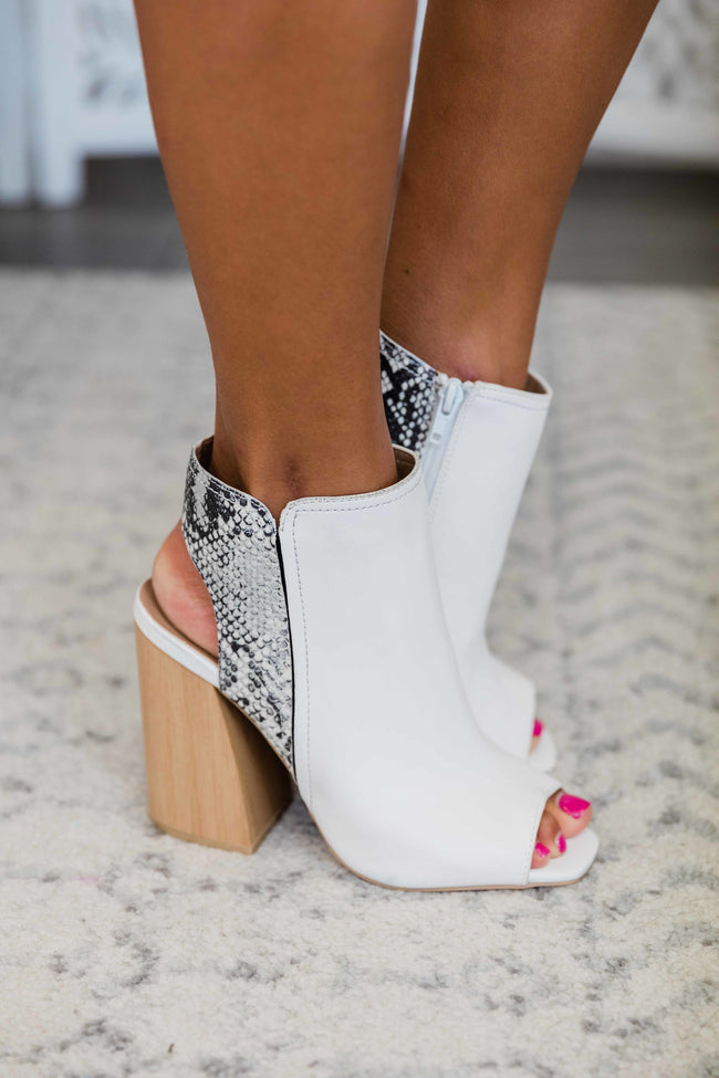 The Nellie White Snakeskin Bootie