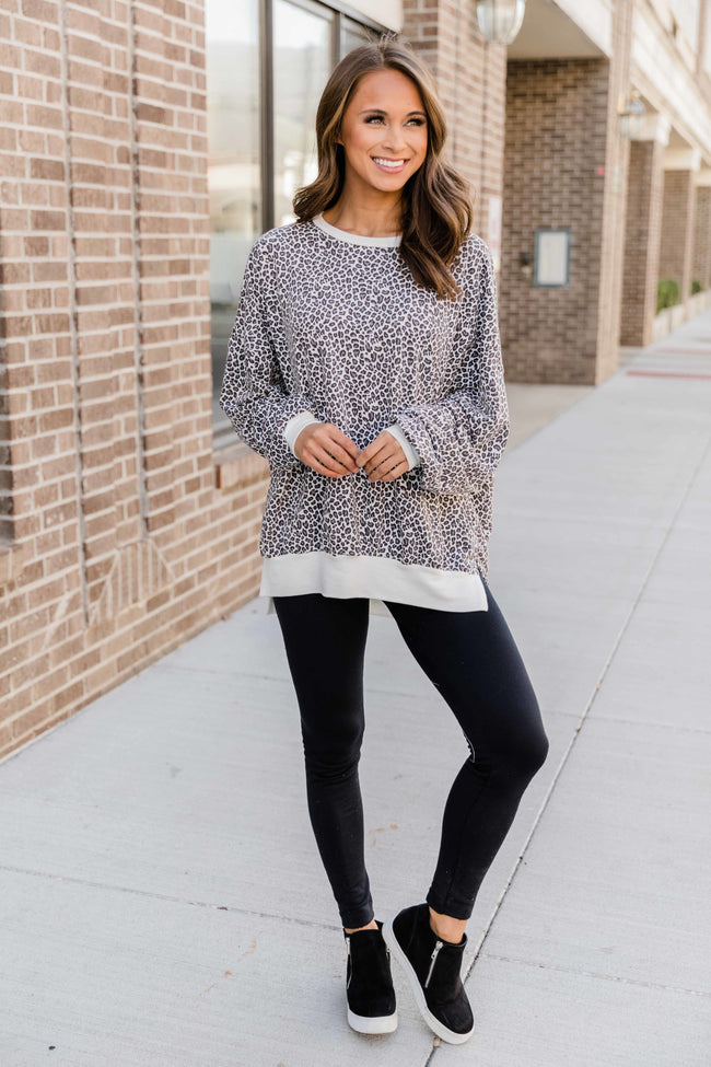 Here We Are Again Grey Animal Print Pullover