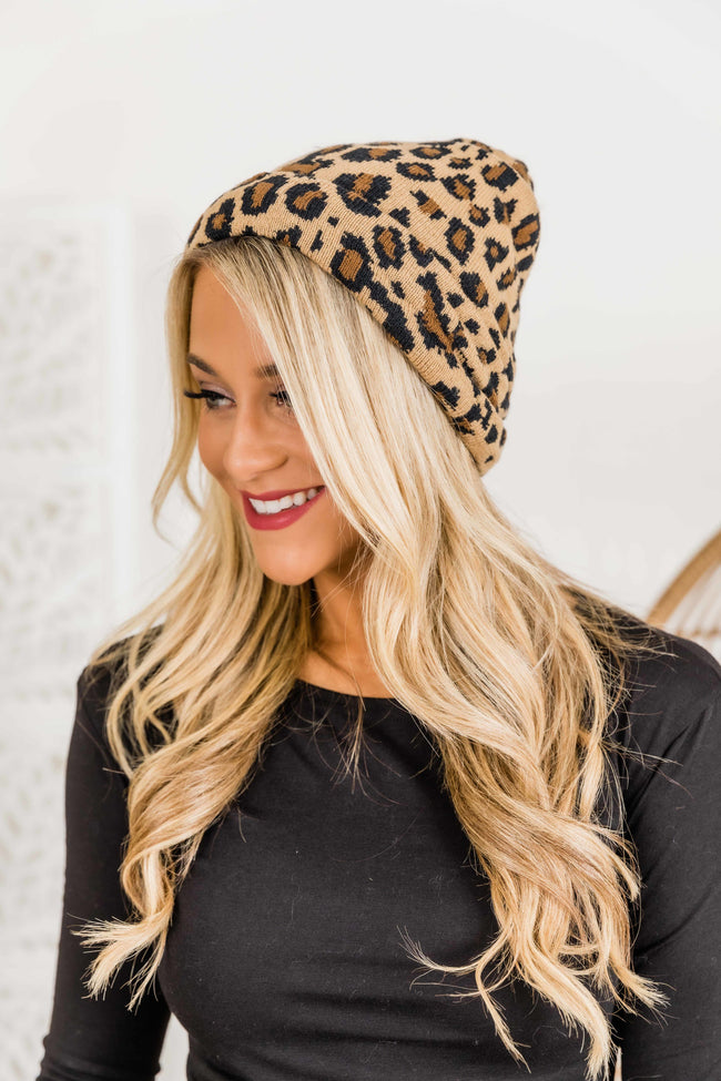 You'll Be Mine Brown Animal Print Beanie
