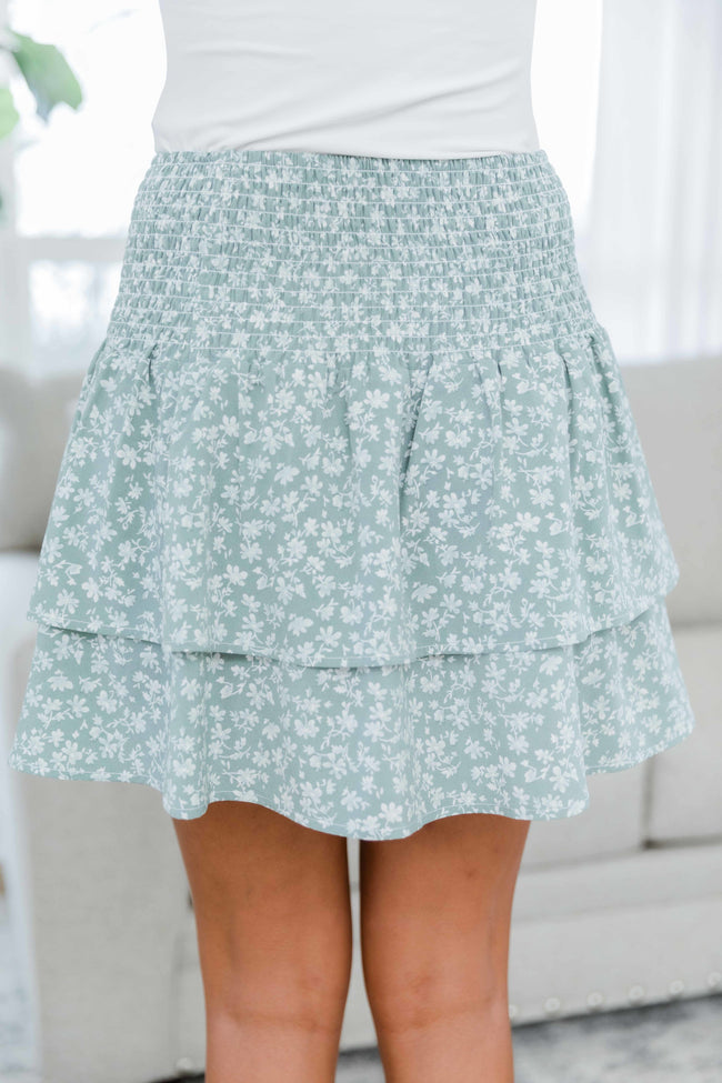 All I Want Is You Sage Floral Skirt