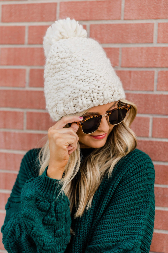 Snowy Nights Ivory Pom Beanie  FINAL SALE