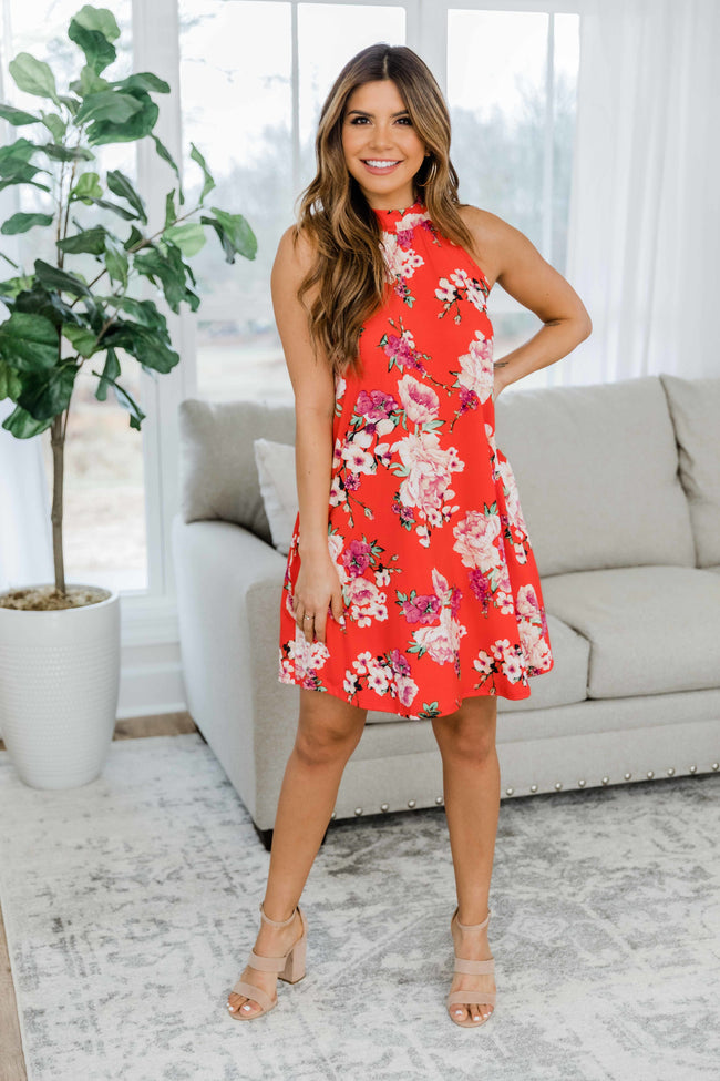 Follow Your Heart Red Floral Dress
