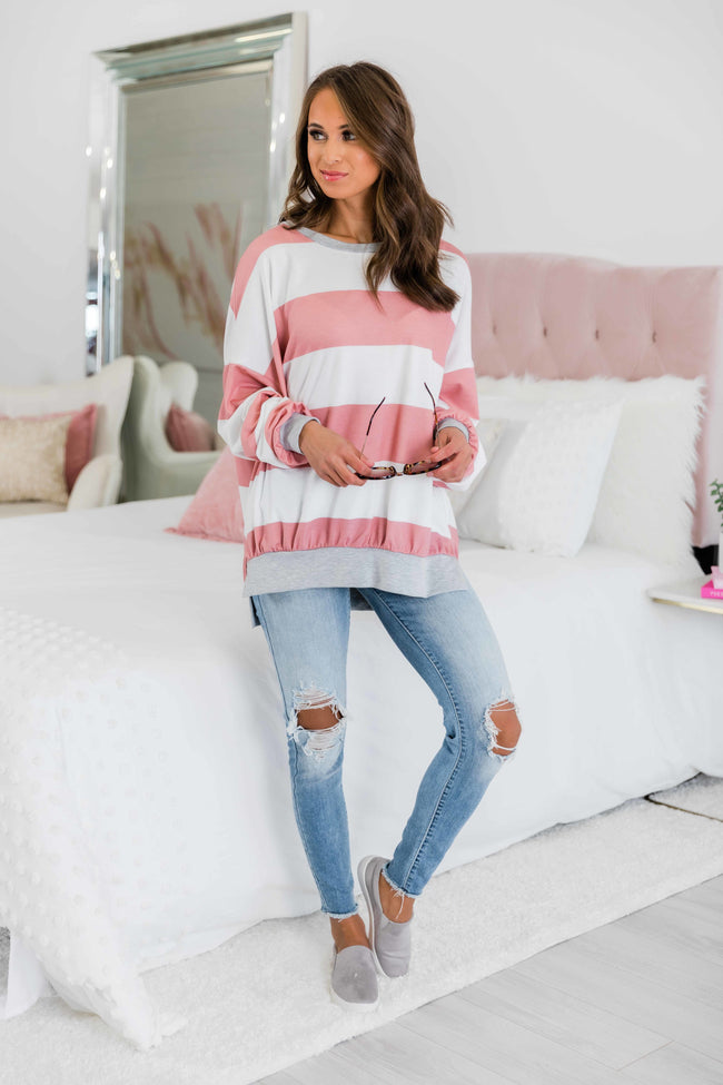 All My Time With You Mauve Striped Pullover