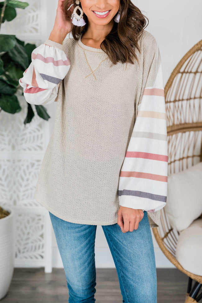 Sweeter Than The Rest Beige Striped Blouse