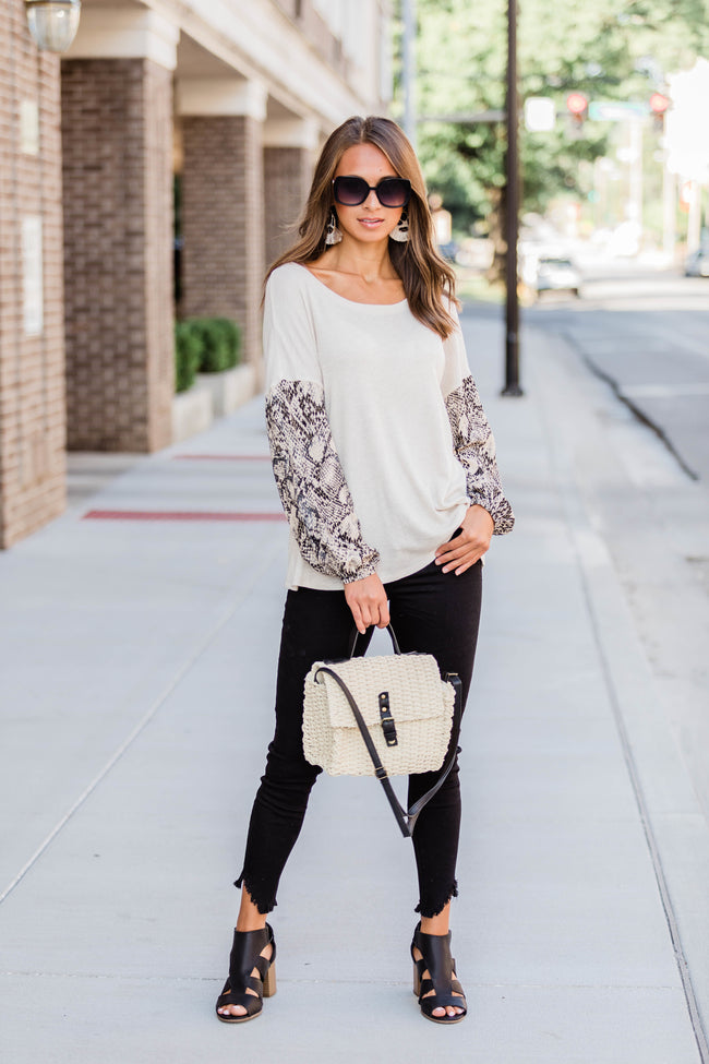 Never Let Me Down Oatmeal Snakeskin Print Blouse