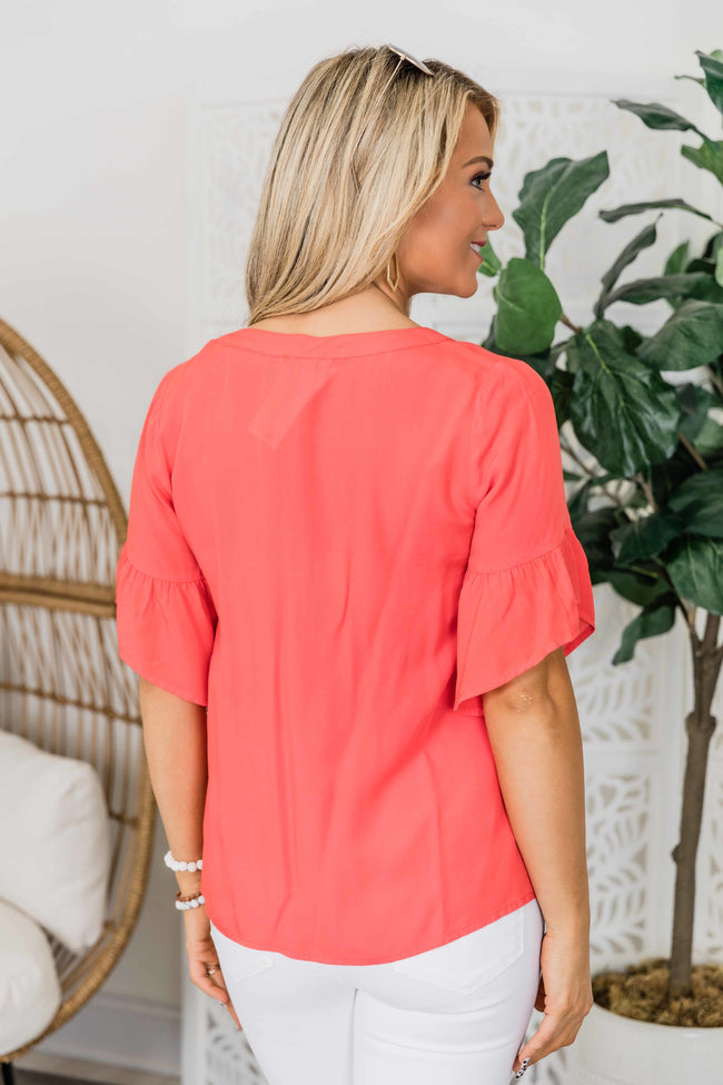 Just Meant To Be Dark Coral Blouse FINAL SALE