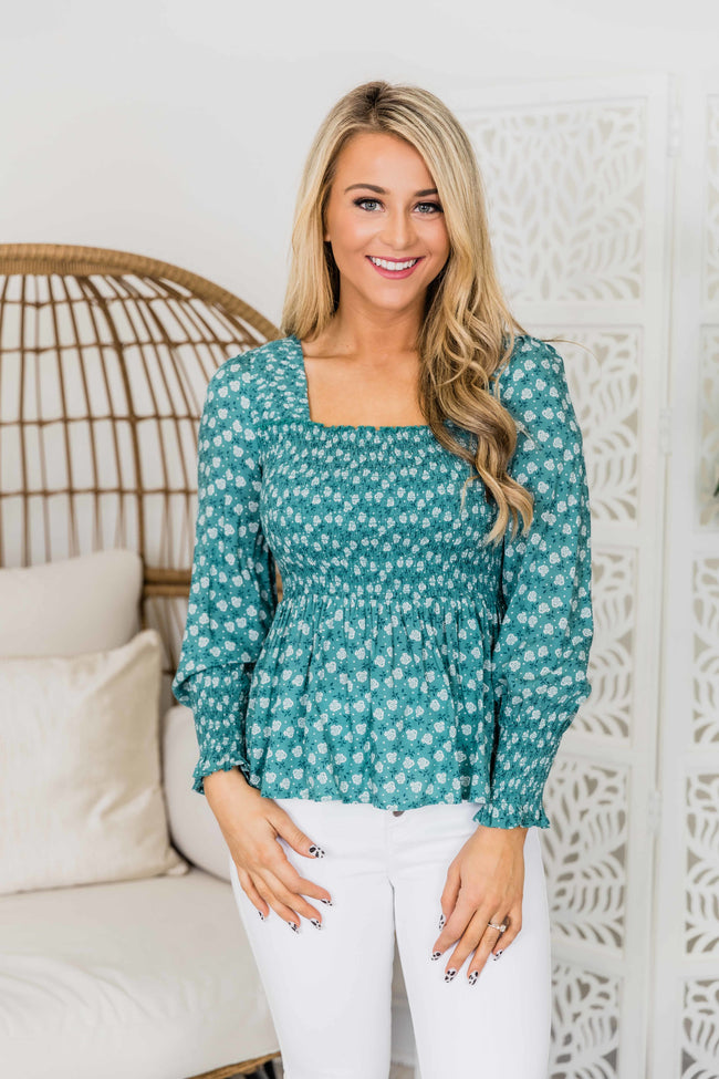 Pure Romance Teal Floral Blouse FINAL SALE