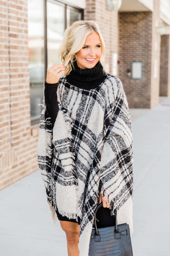 Just What I Want Cream/Black Plaid Poncho