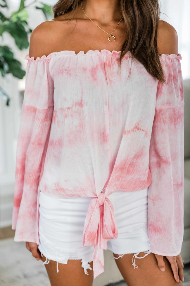 Hustle And Heart Tie Dye Blouse Pink