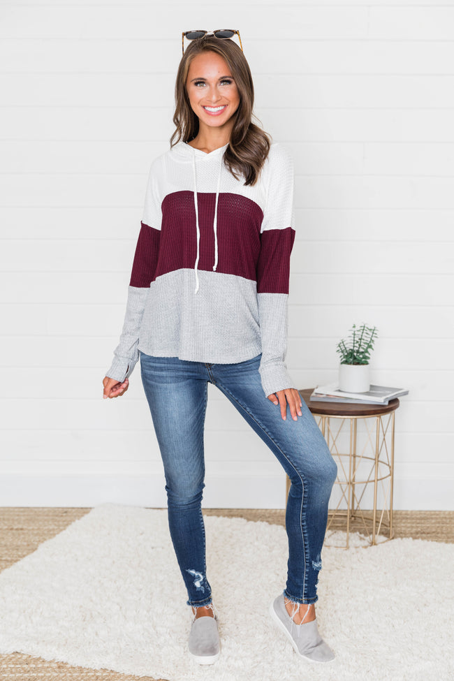 Why Not Fall In Love Burgundy Colorblock Hoodie