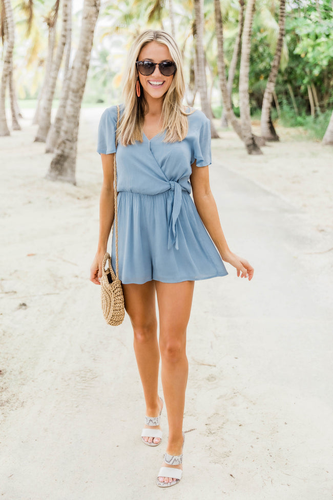 Have Just Enough Time Side Tie Romper Chambray FINAL SALE