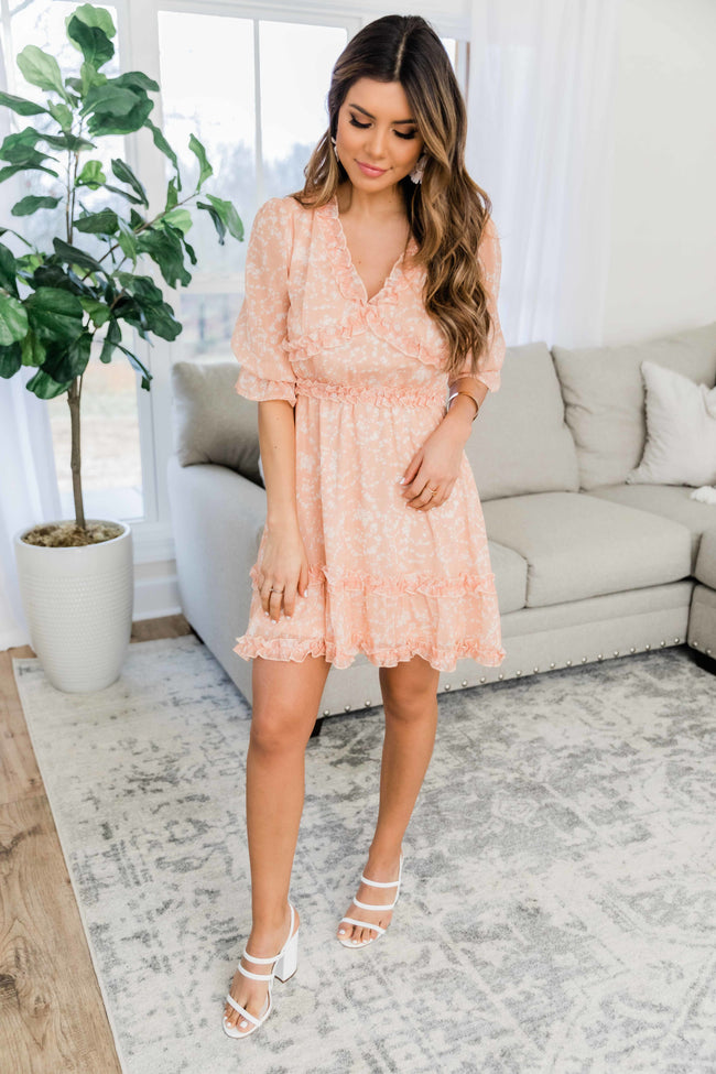 Travel Through Time Floral Dress Tangerine FINAL SALE