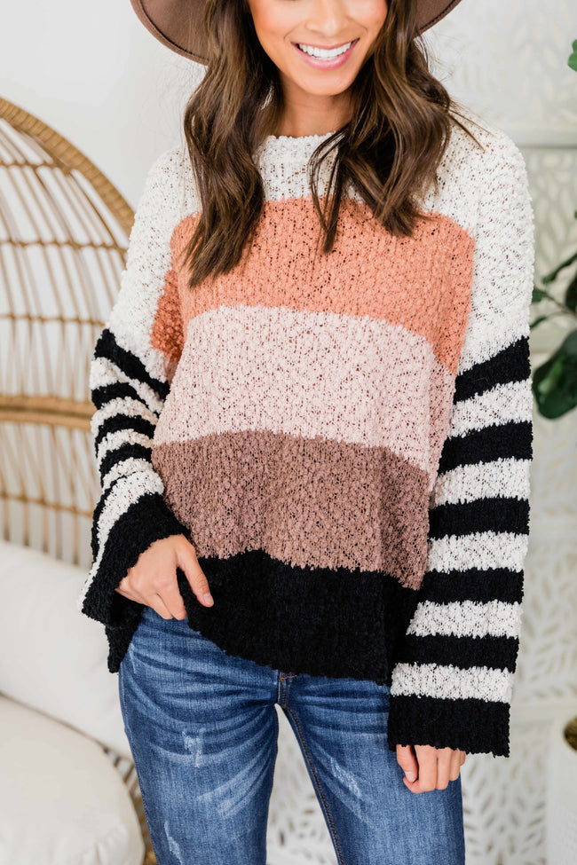 Find A Way To Me Black Colorblock Popcorn Sweater