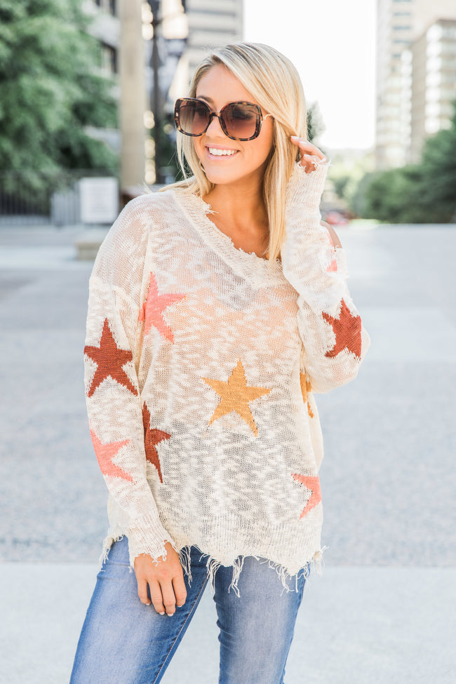Reach For My Dreams Beige Star Printed Blouse CLEARANCE
