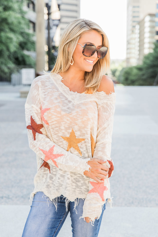 Reach For My Dreams Beige Star Printed Blouse