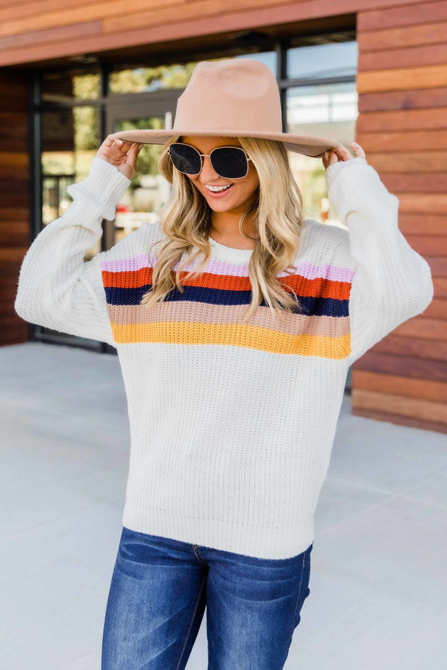 How Lucky To Love You White Striped Sweater CLEARANCE