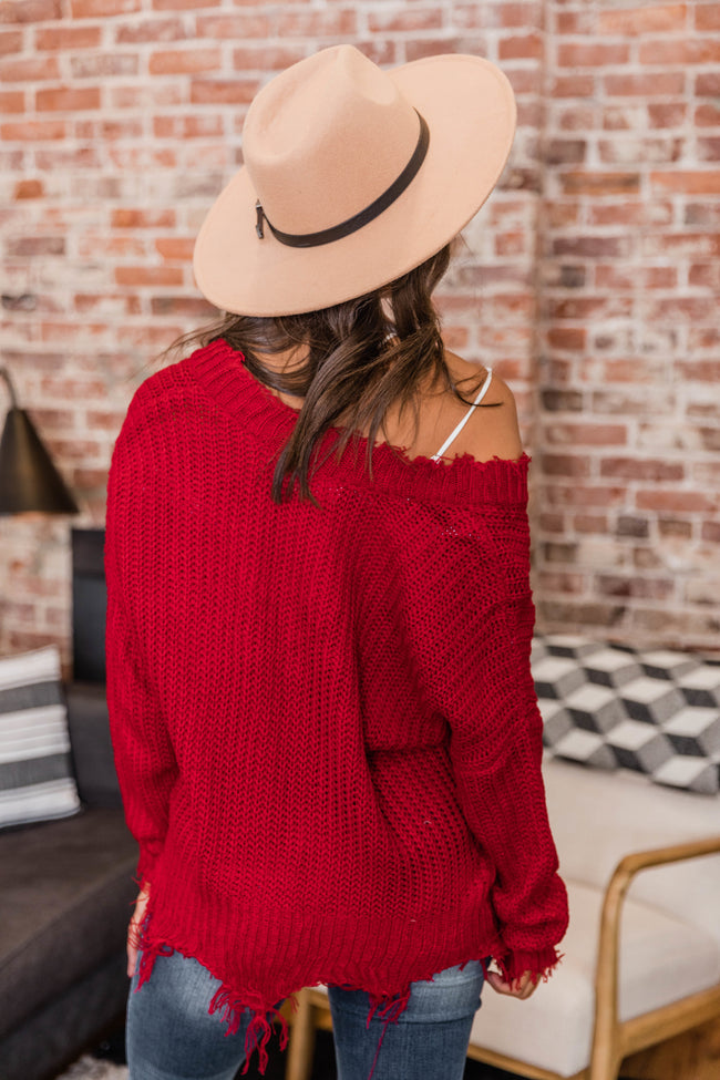 Commitment To Cool Red Distressed Sweater