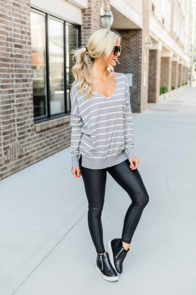 Fall Daydream Grey Striped Sweater