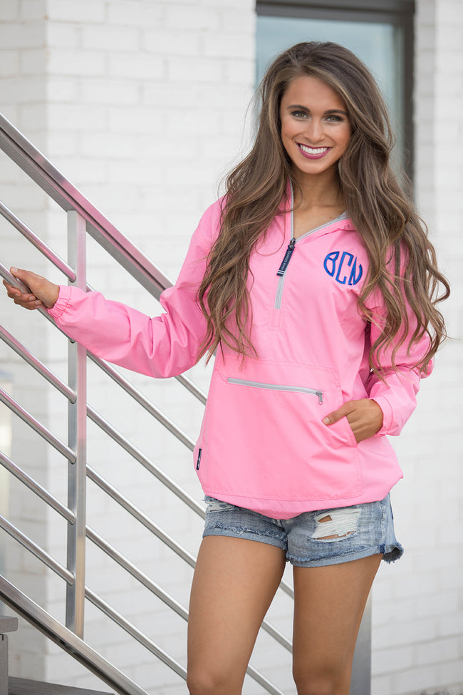 Personalized Pink Pullover Rain Jacket