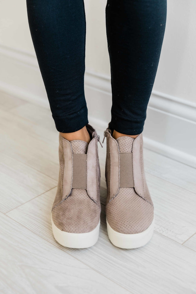 The Reese Taupe Wedge Sneakers