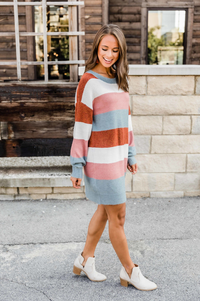 Think I'm Falling In Love Mauve Colorblock Sweater Dress FINAL SALE