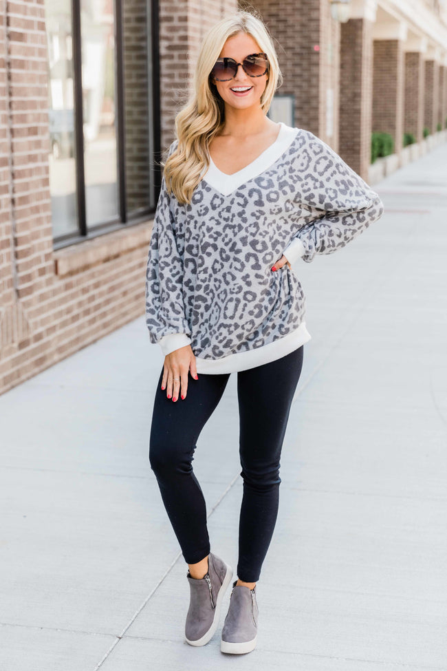 Happy Hearts Grey Animal Print Blouse FINAL SALE