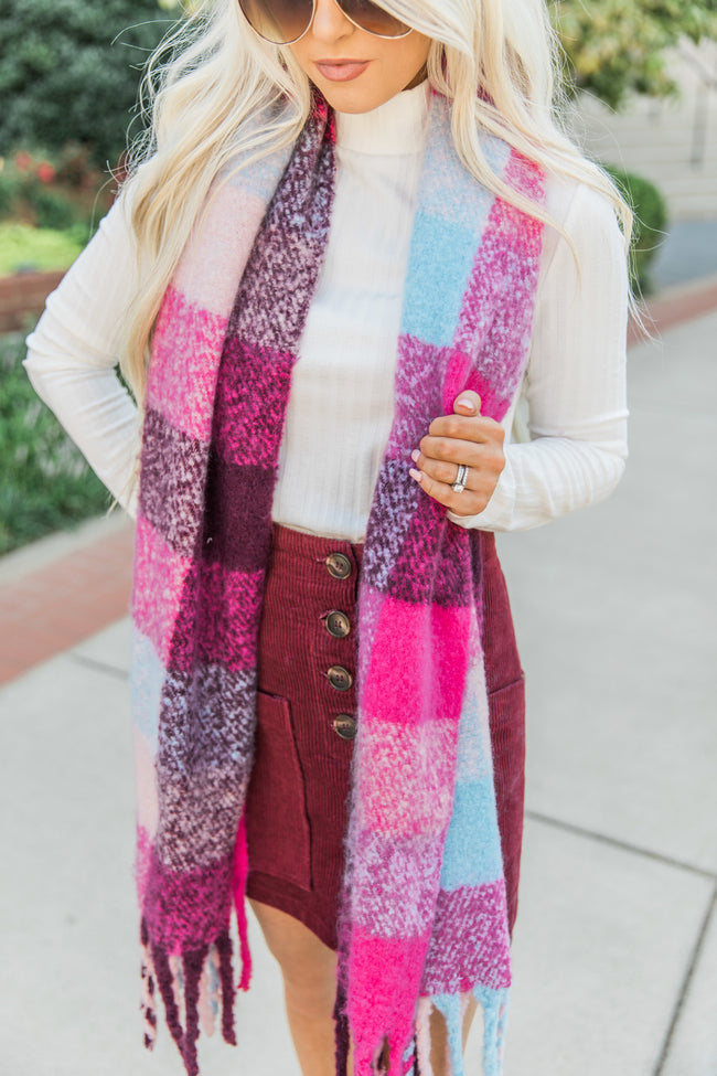 We're Sweeter Together Pink Plaid Scarf