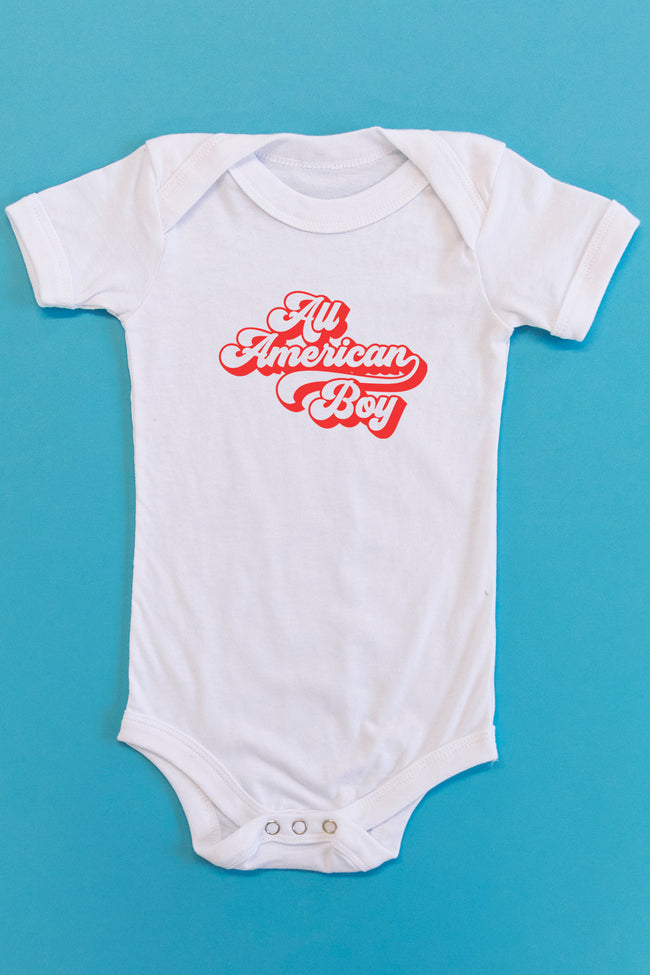 All American Boy Retro Graphic Onesie White