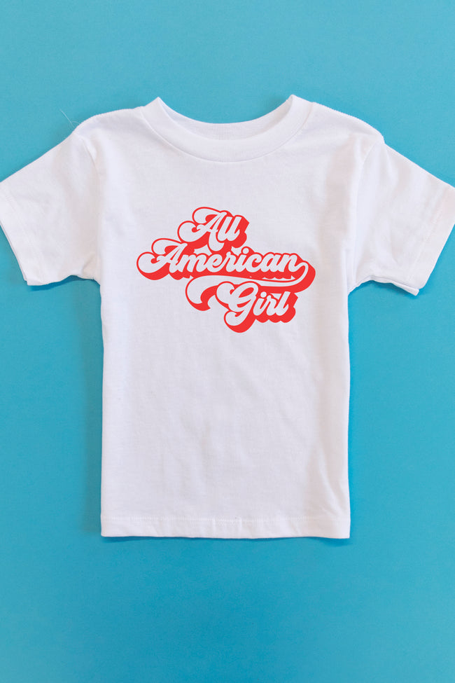 All American Girl Retro Graphic Youth Tee White