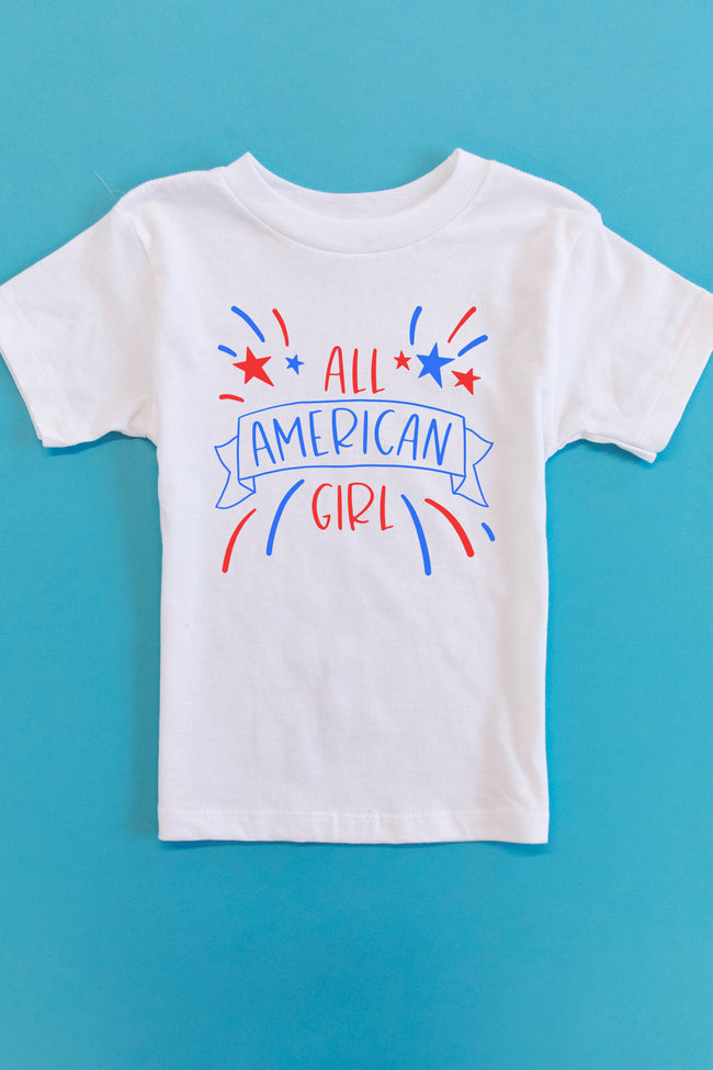 All American Girl Fireworks Graphic Youth Tee White