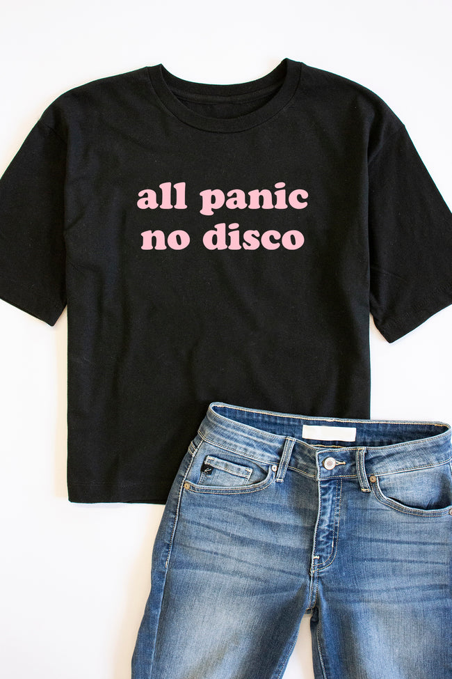 All Panic No Disco Crop Graphic Tee Black