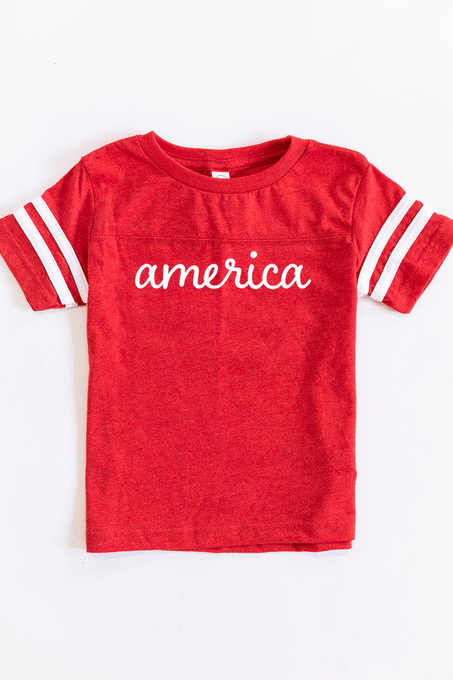 America Script Graphic Youth Tee Red/White