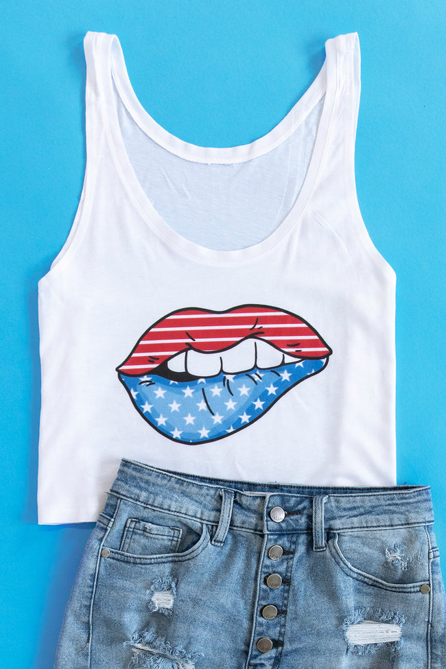 USA Flag Lips Graphic Cropped Tank White
