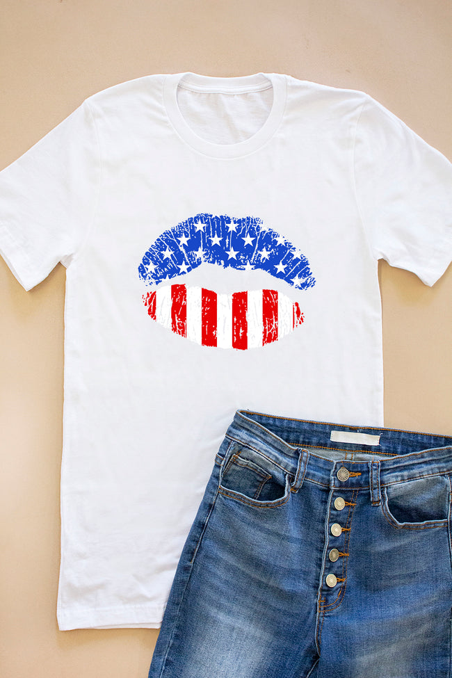 American Lips White Graphic Tee
