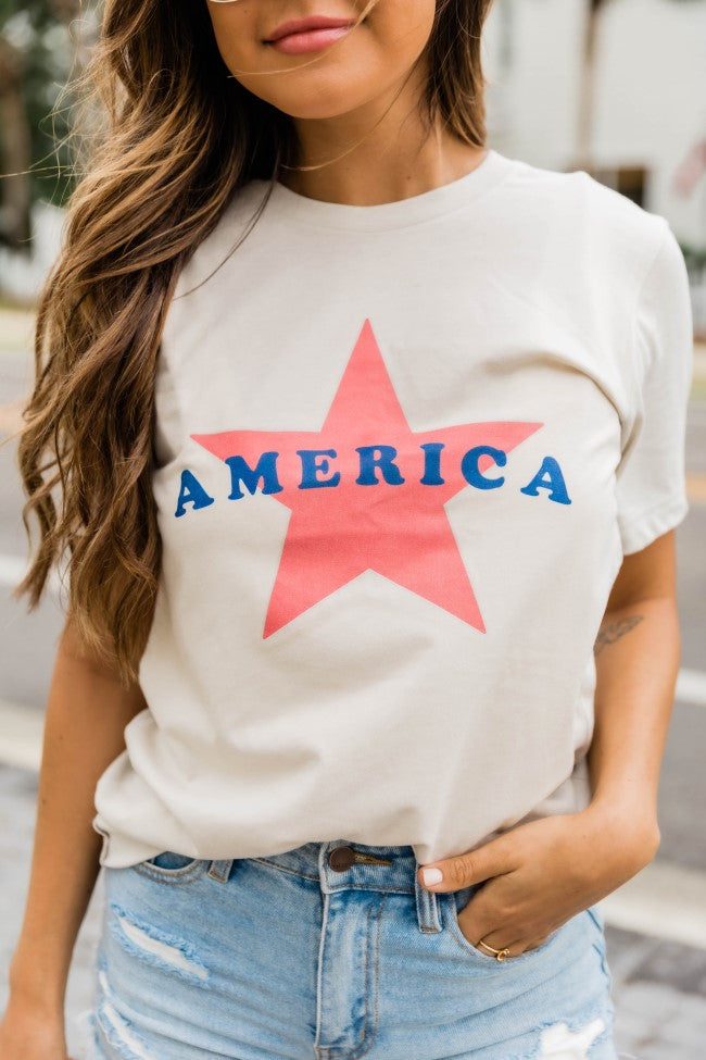 American Star Graphic Tee Heather Dust