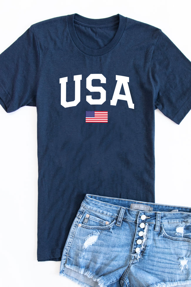 Athletic USA Flag Tee Navy