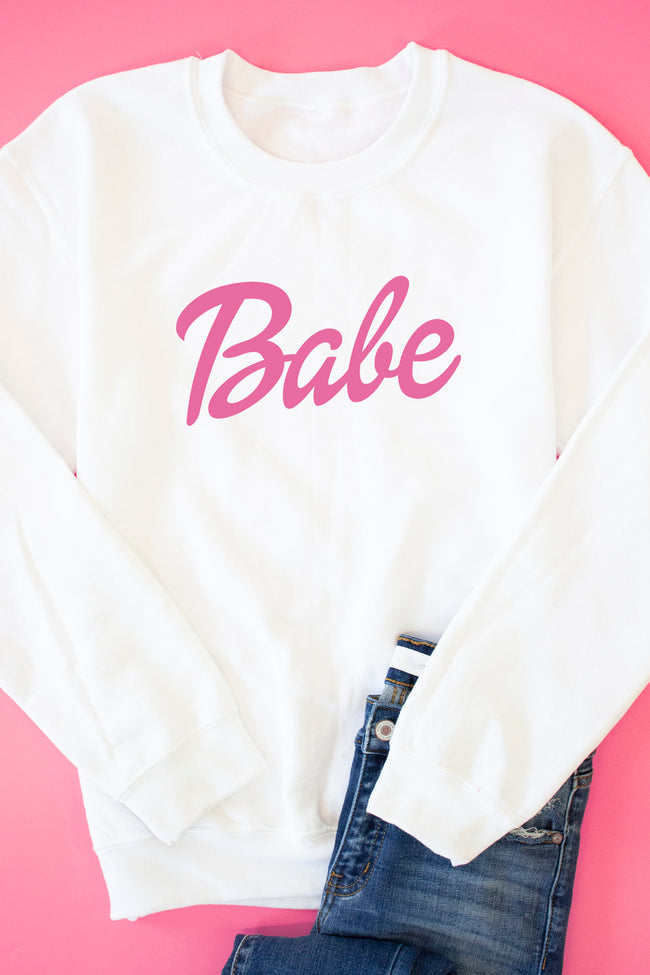 Babe White Graphic Sweatshirt