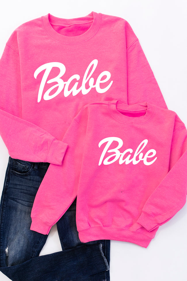 Kids Babe Safety Pink Graphic Sweatshirt