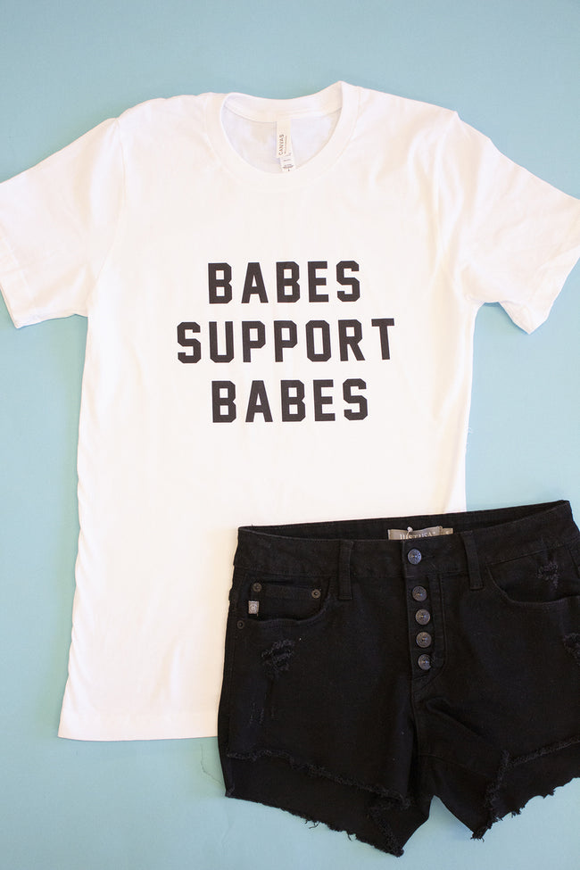 Babes Support Babes White/Black Graphic Tee