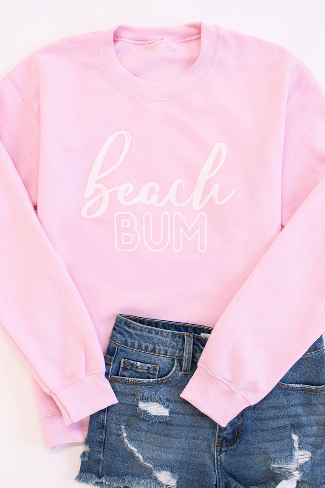 White Beach Bum Script Light Pink Graphic Sweatshirt