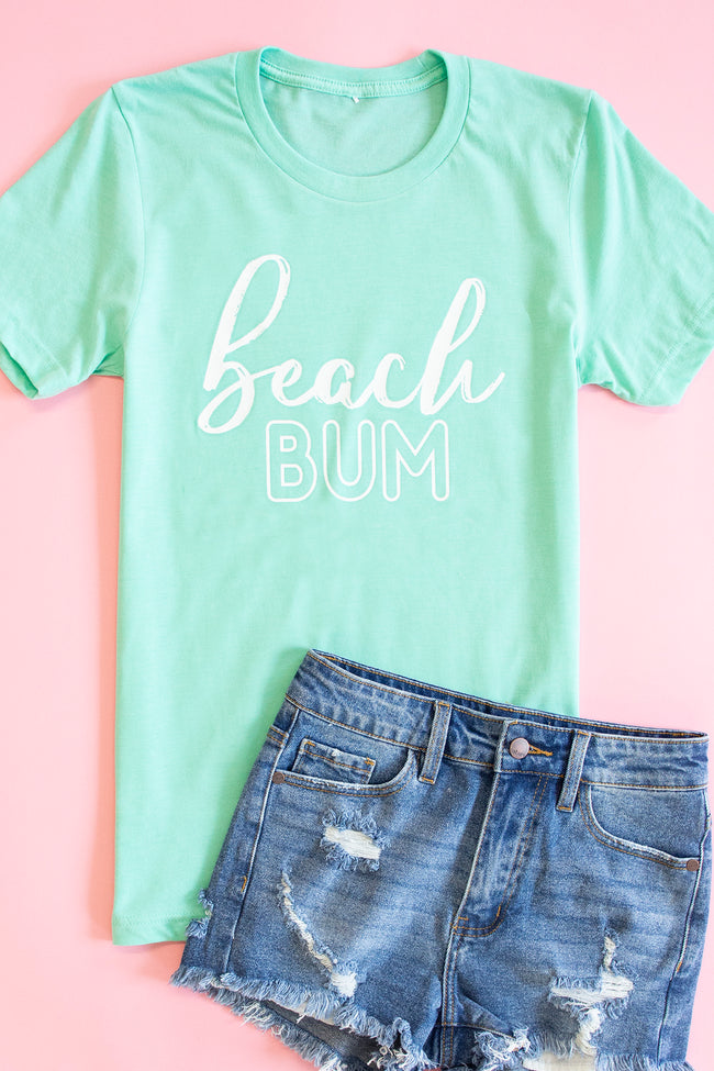 White Beach Bum Script Graphic Tee Heather Mint