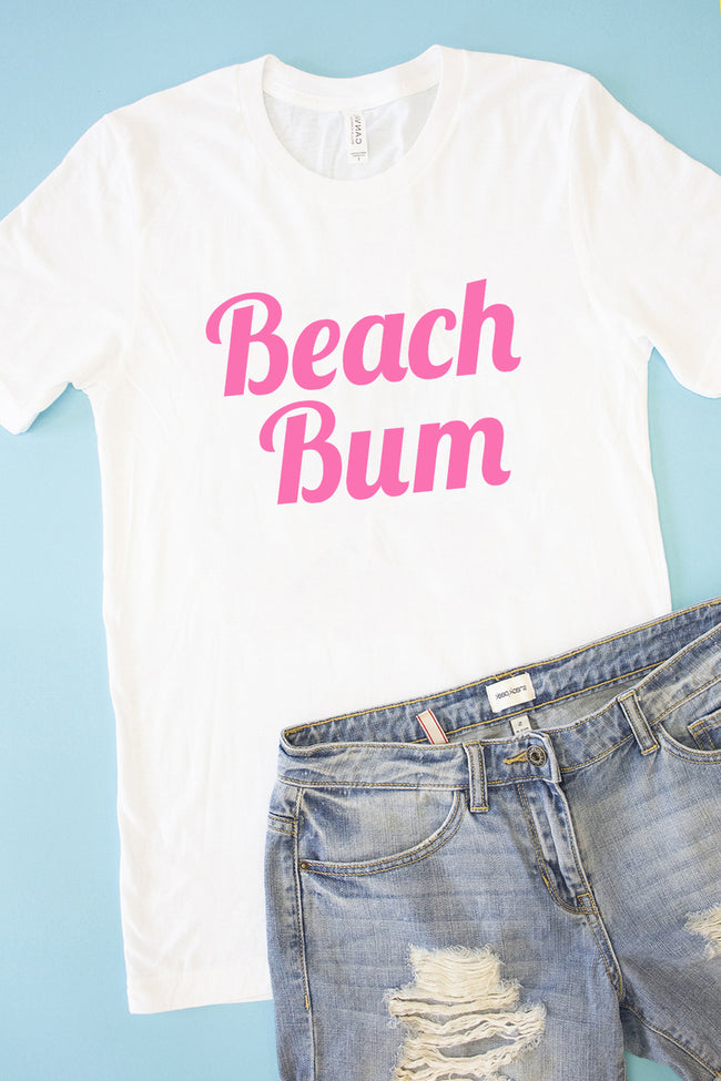 Beach Bum White Graphic Tee