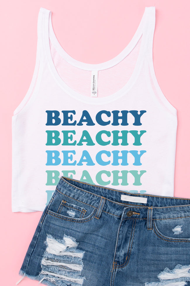 Beachy Multi Cropped Graphic Tank White